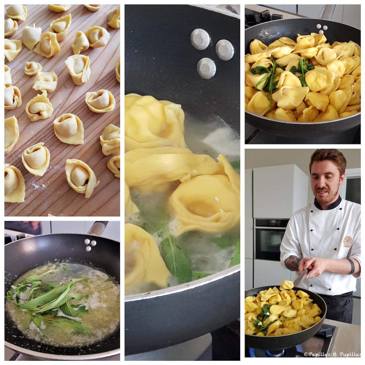 Préparation des tortelloni au beurre de sauge