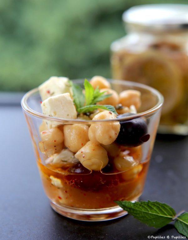 Salade de pois chiche feta olives noires menthe