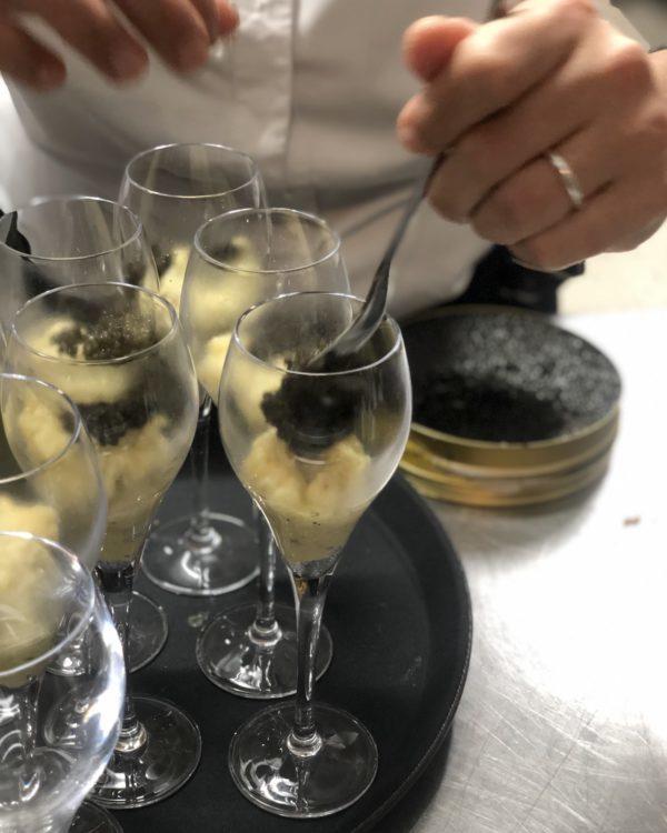 Cappuccino de brandade de morue au caviar