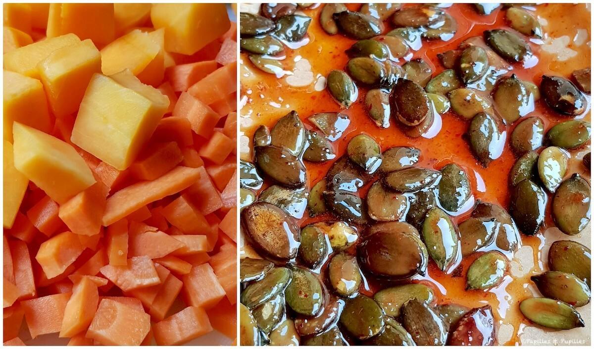 Légumes coupés et graines de courges caramélisées