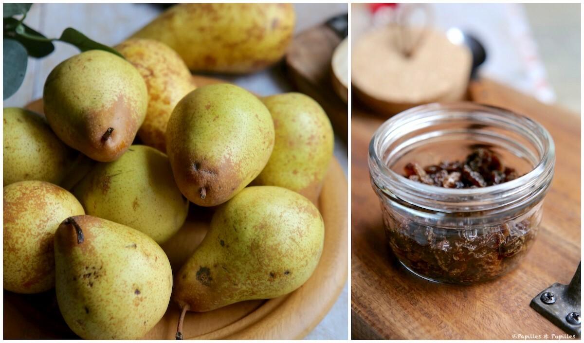 Poires et raisins secs dans rhum BD