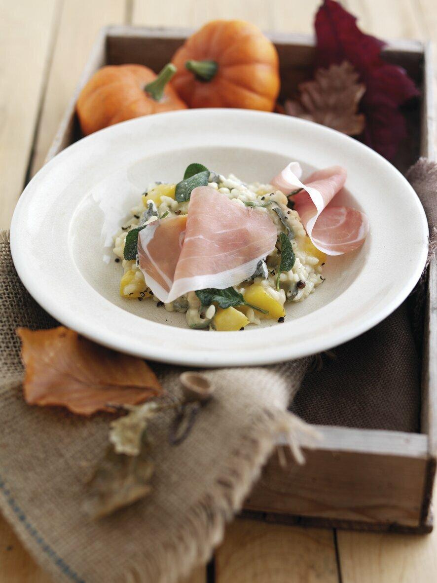 Risotto d'automne : Jambon de Parme, potiron et gorgonzola