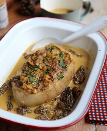 Rôti de veau aux morilles et crème