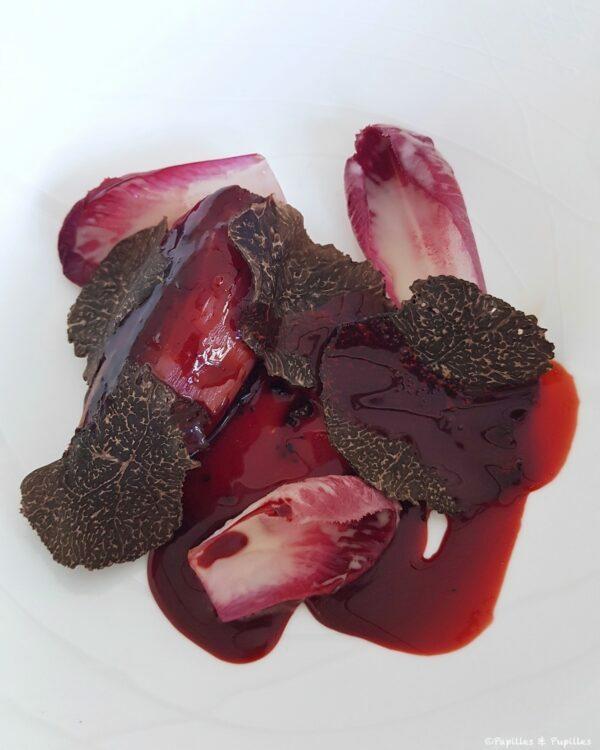 Truffe noire girondine, carmines au naturel, vieux Comté et betterave