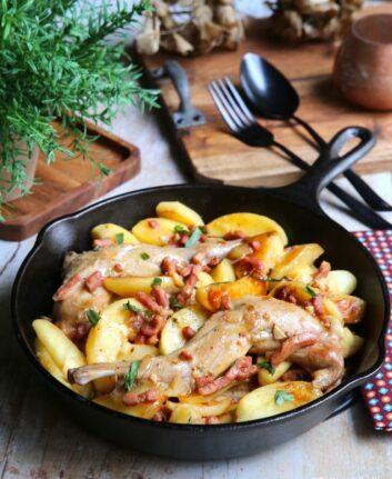 Gigolettes de lapin au cidre estragon et pommes