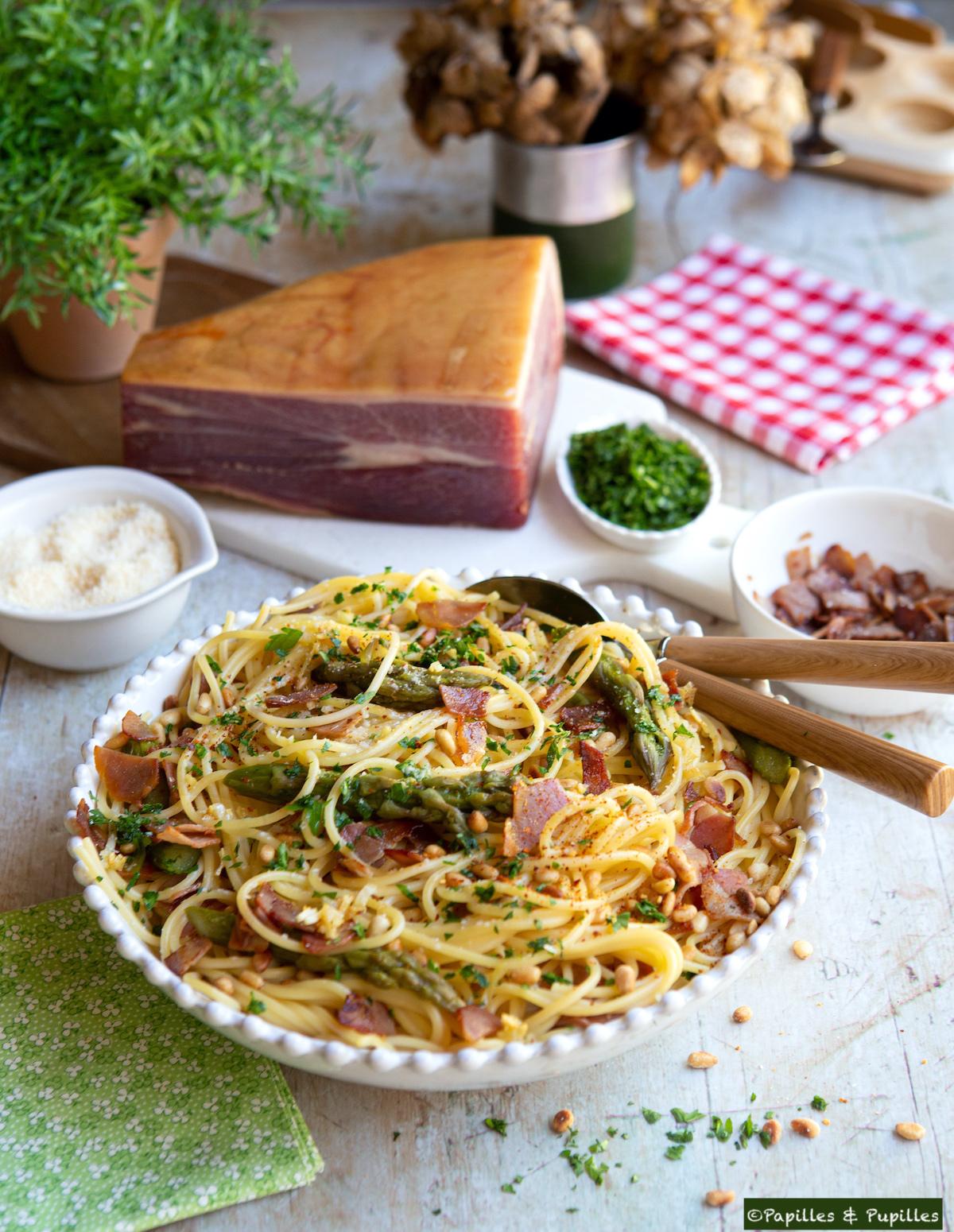 Spaghetti au jambon de Bayonne asperges vertes
