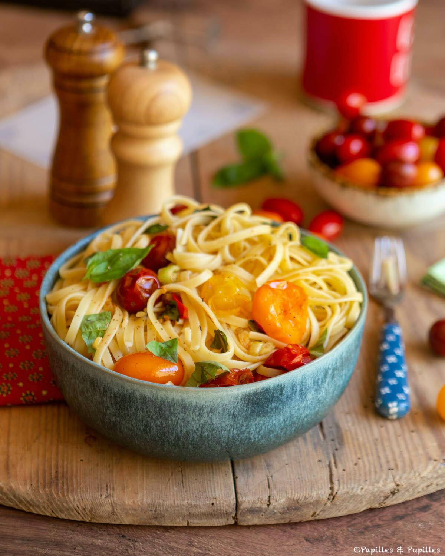 Linguine tomates ail basilic