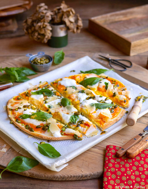 Pizza carottes basilic burrata