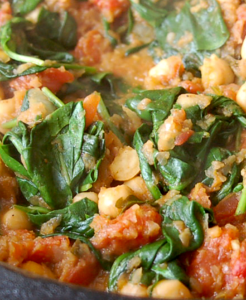 Epinards, pois chiches et tomates