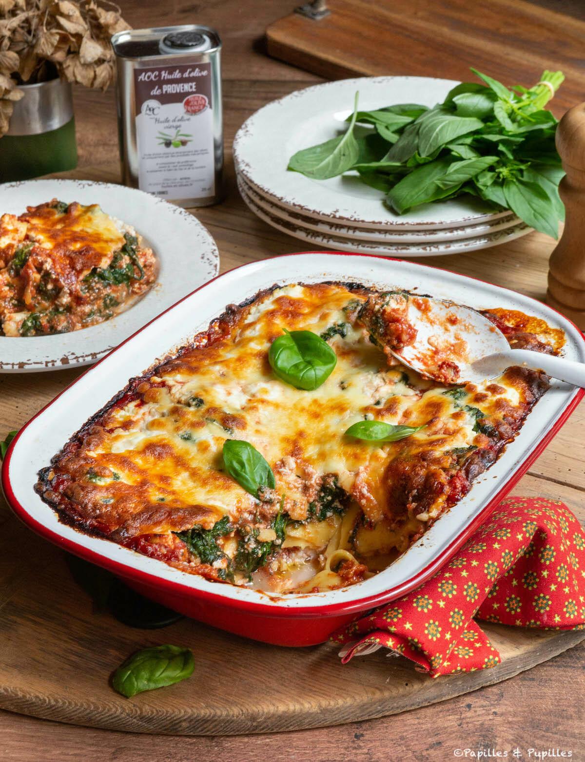 Lasagnes épinards ricotta tomate