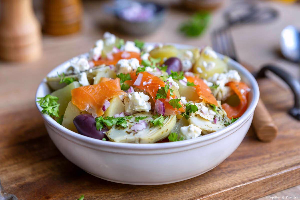 Salade de truite fumée, artichauts et pommes de terre