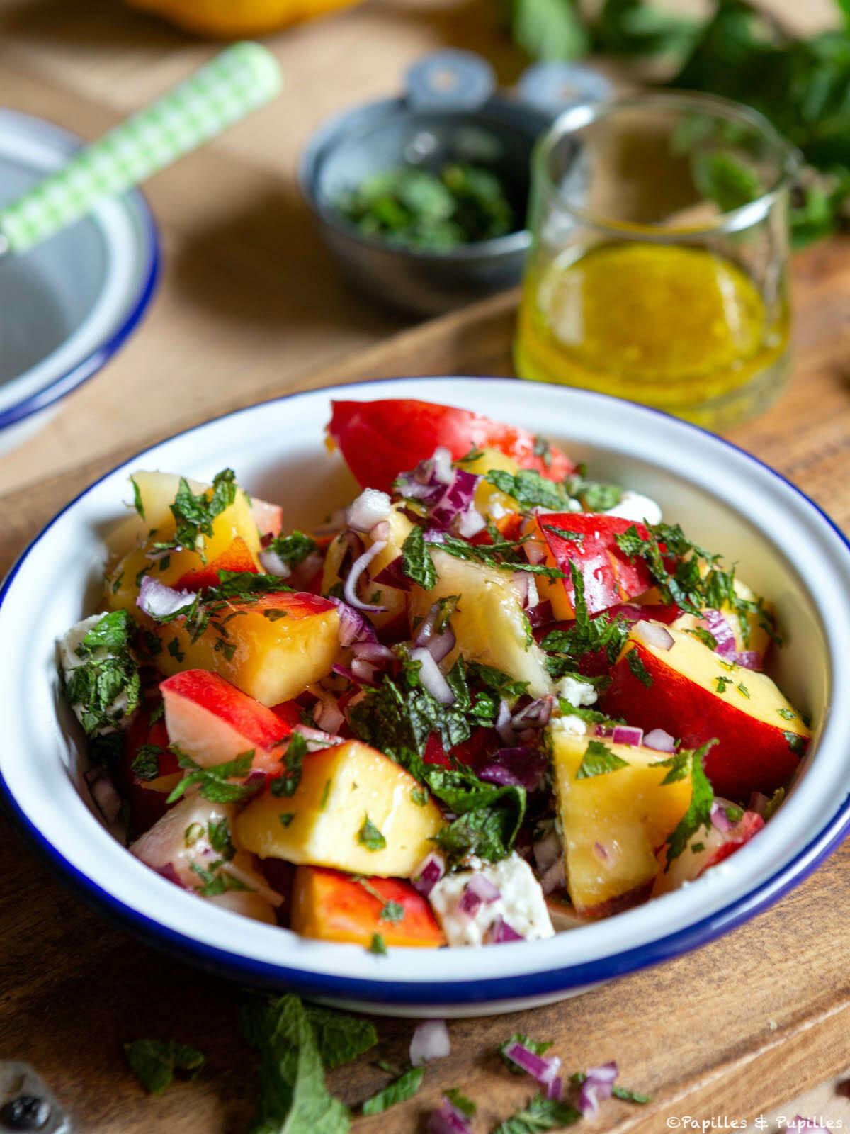 Salade de nectarines feta et menthe