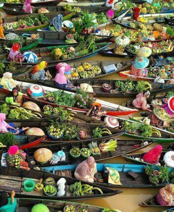 Marché flottant de Banjarmasin- Borneo (Kalimantan Sud)