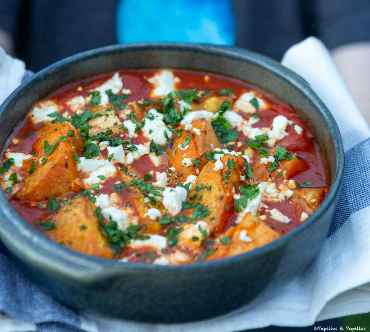 Patates douces, feta, sauce tomate