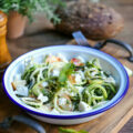 Salade de courgettes, nectarines, menthe, feta