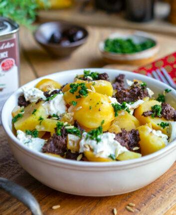 Salade de pommes de terre tapenade et burrata