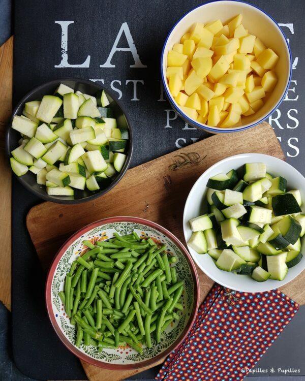 Courgettes, pommes de terre et haricots verts