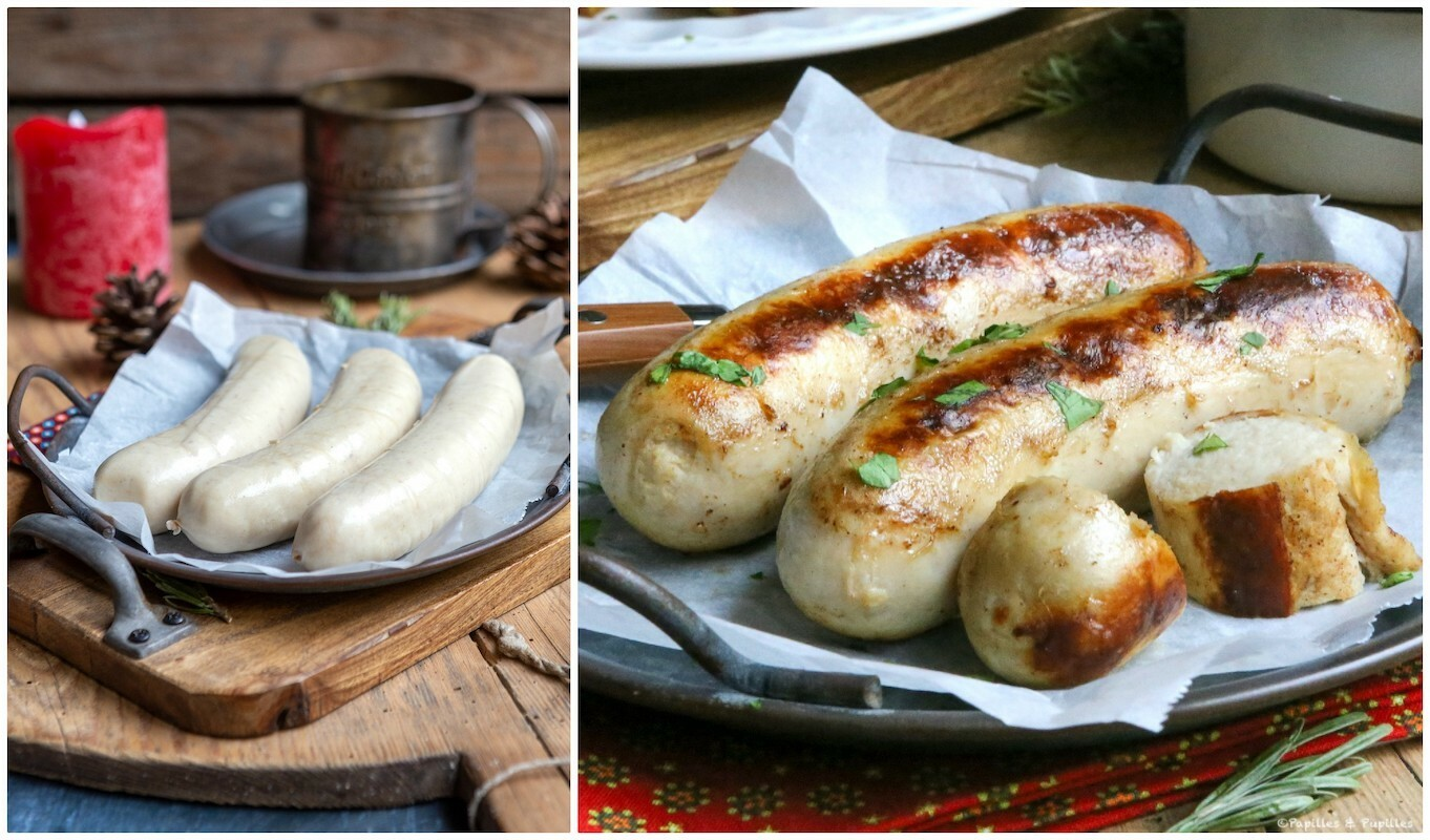 Boudin blanc avant et après cuisson