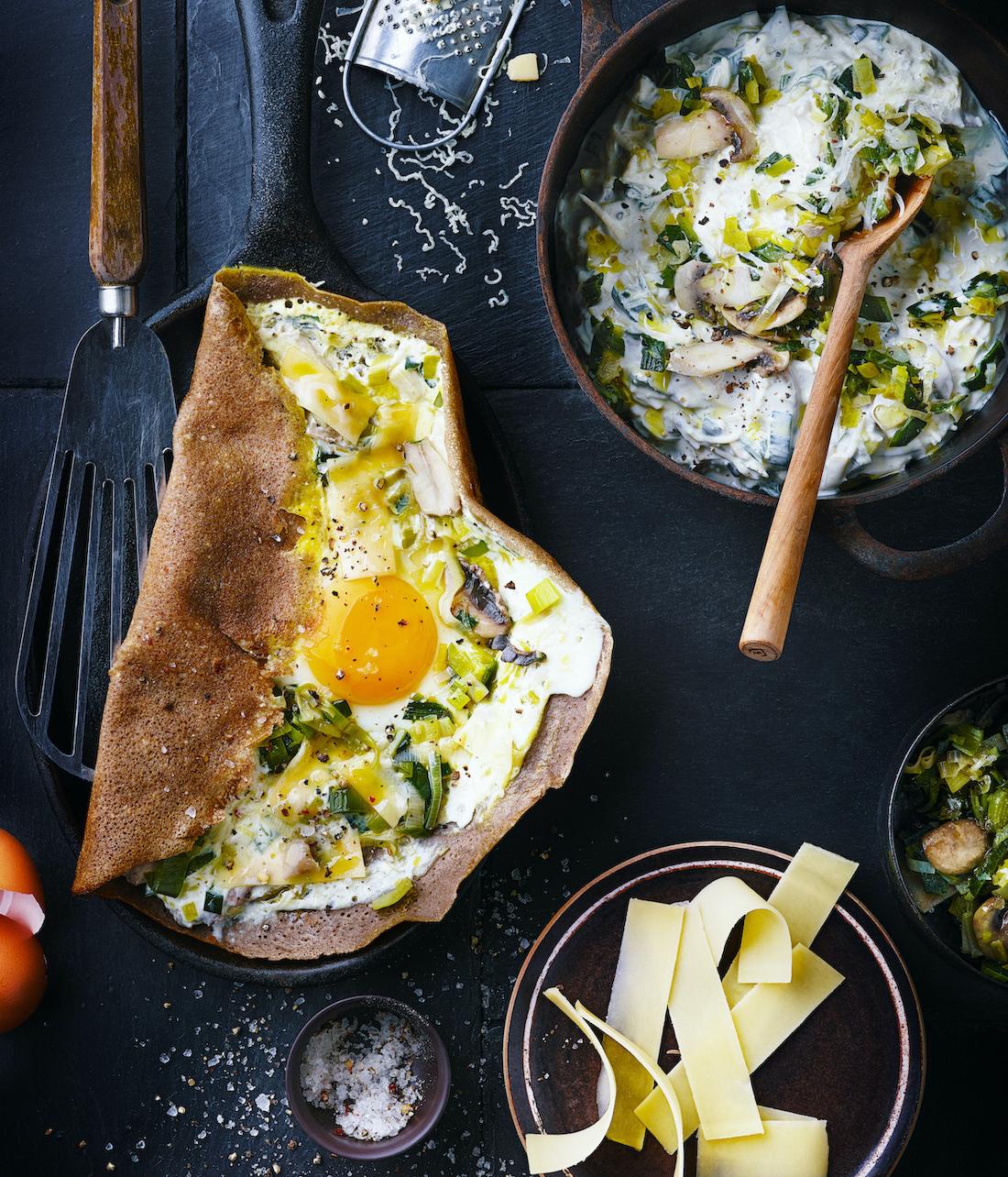 Galettes Bretonnes à la fondue de poireaux et au fromage