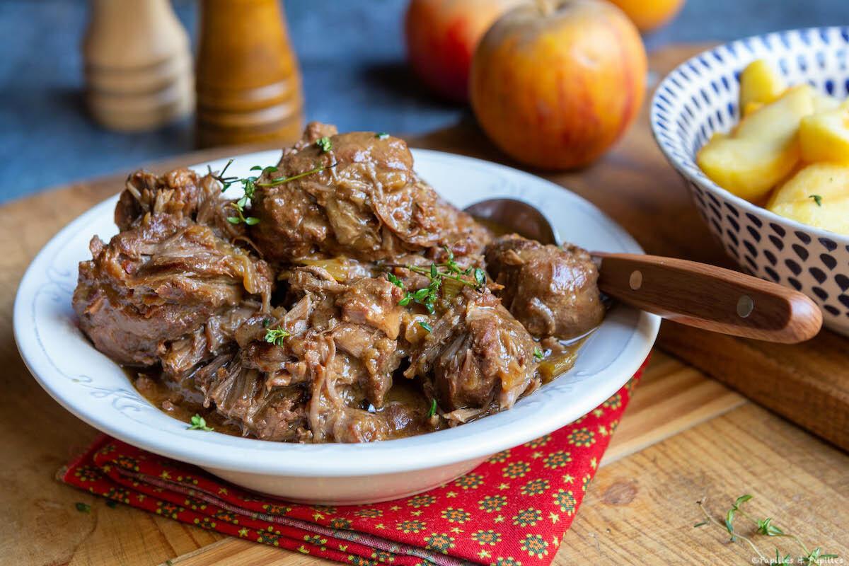 Joues de porc au cidre et sirop d'érable
