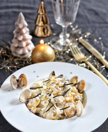 Risotto de Noël aux coques et à la truffe noire