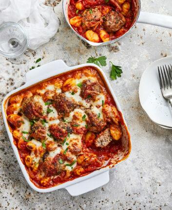 Gratin de gnocchis à l'agneau et sauce tomate