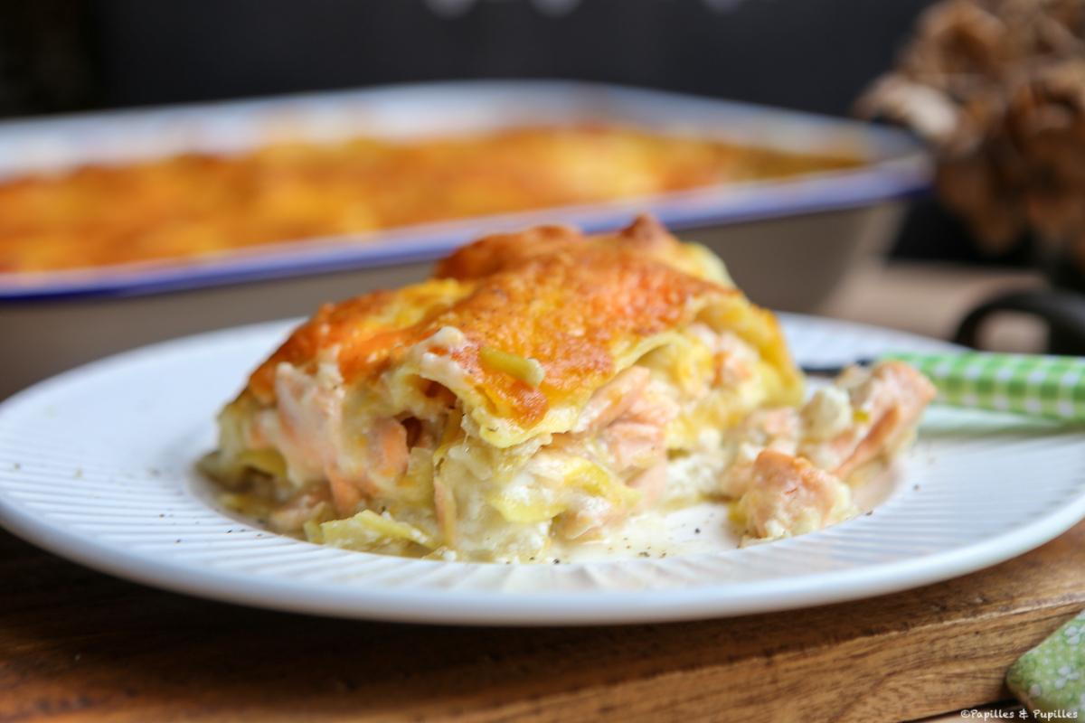 Lasagnes au saumon, poireaux et ricotta