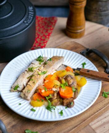 Quasi de veau aux carottes et champignons