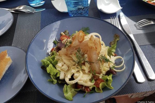Salade de palmiste et marlin fumé