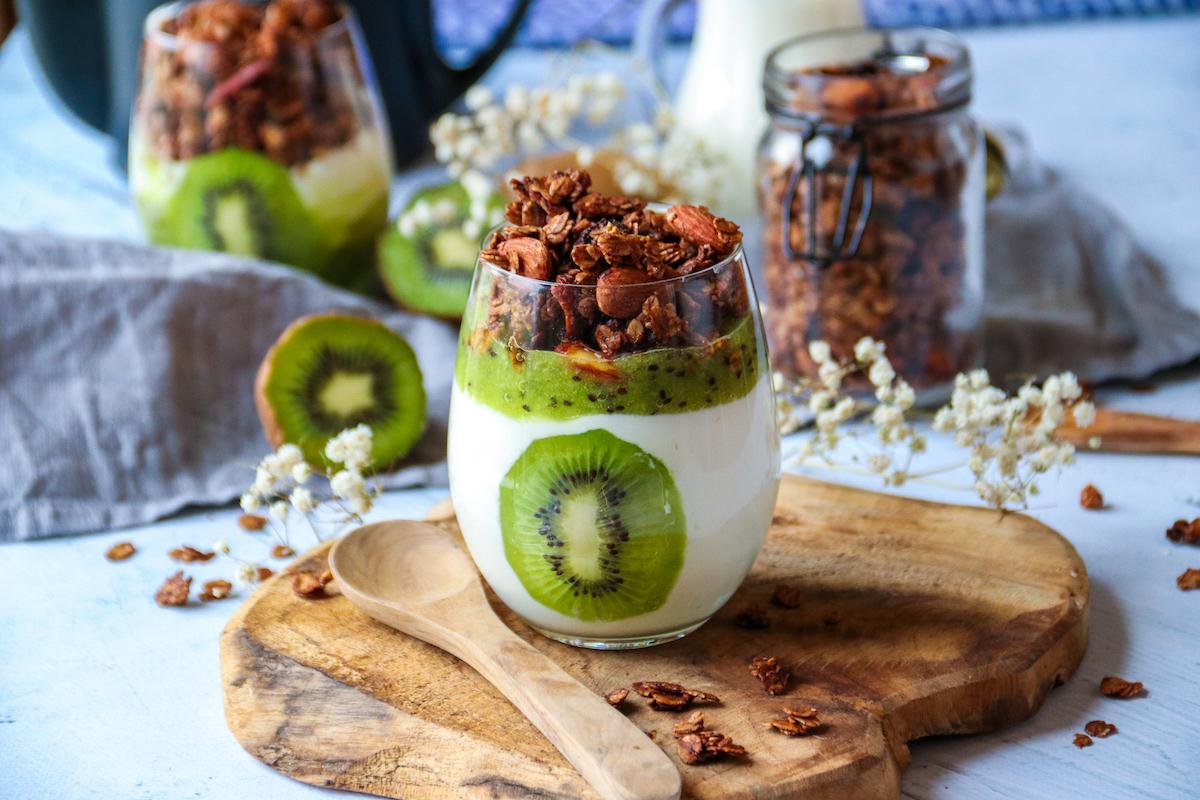 Verrines du petit déjeuner au kiwi et granola