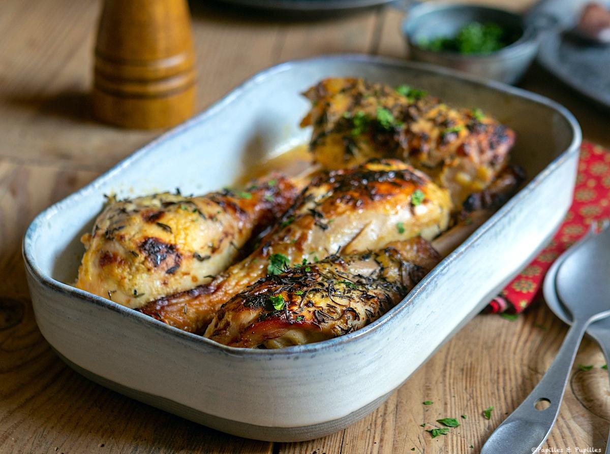Cuisses de poulet à la moutarde, au miel et au thym