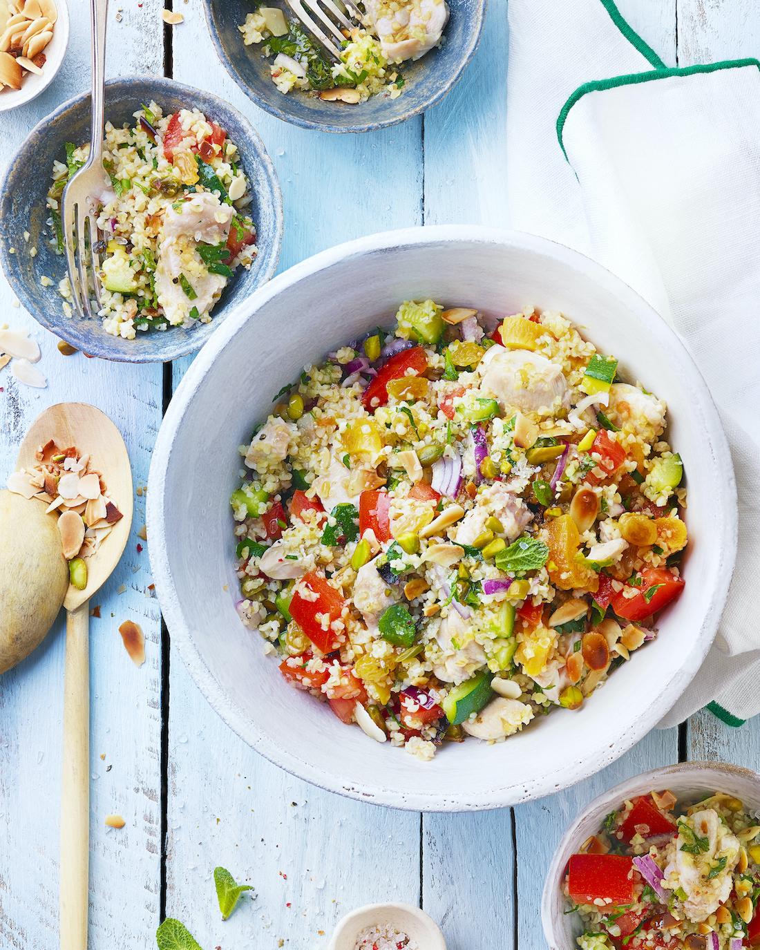 Salade de boulgour au lapin et aux fruits secs