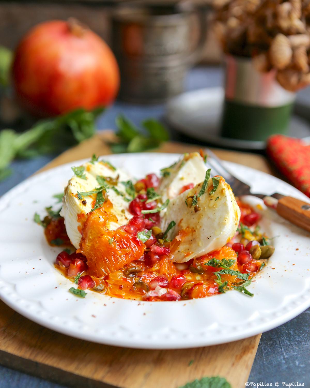 Salade de burrata (ou mozzarella), orange et grenade