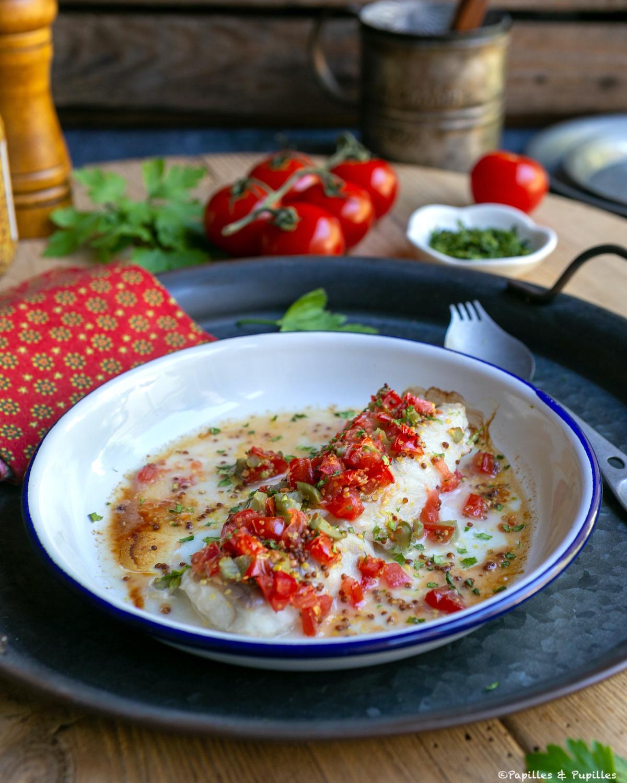 Filet de colin sauce tomate moutarde cornichon