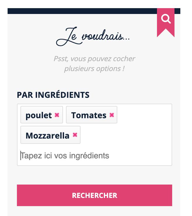 Recherche poulet tomates mozzarella