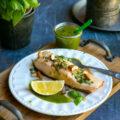 Saumon gillé, sauce basilic et citron confit