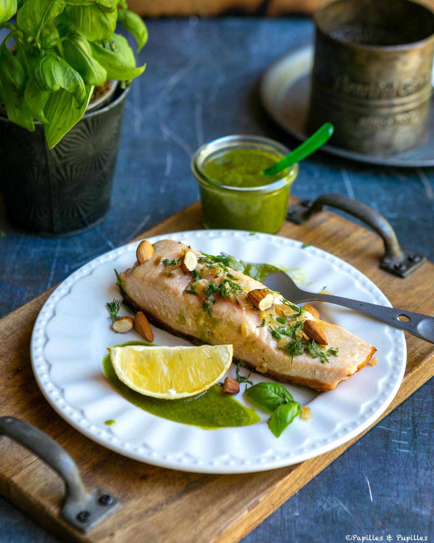 Saumon grillé, sauce basilic et citron confit