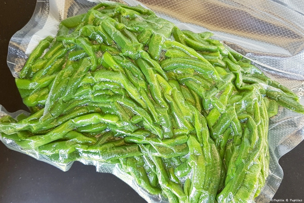 Haricots verts blanchis sous vide