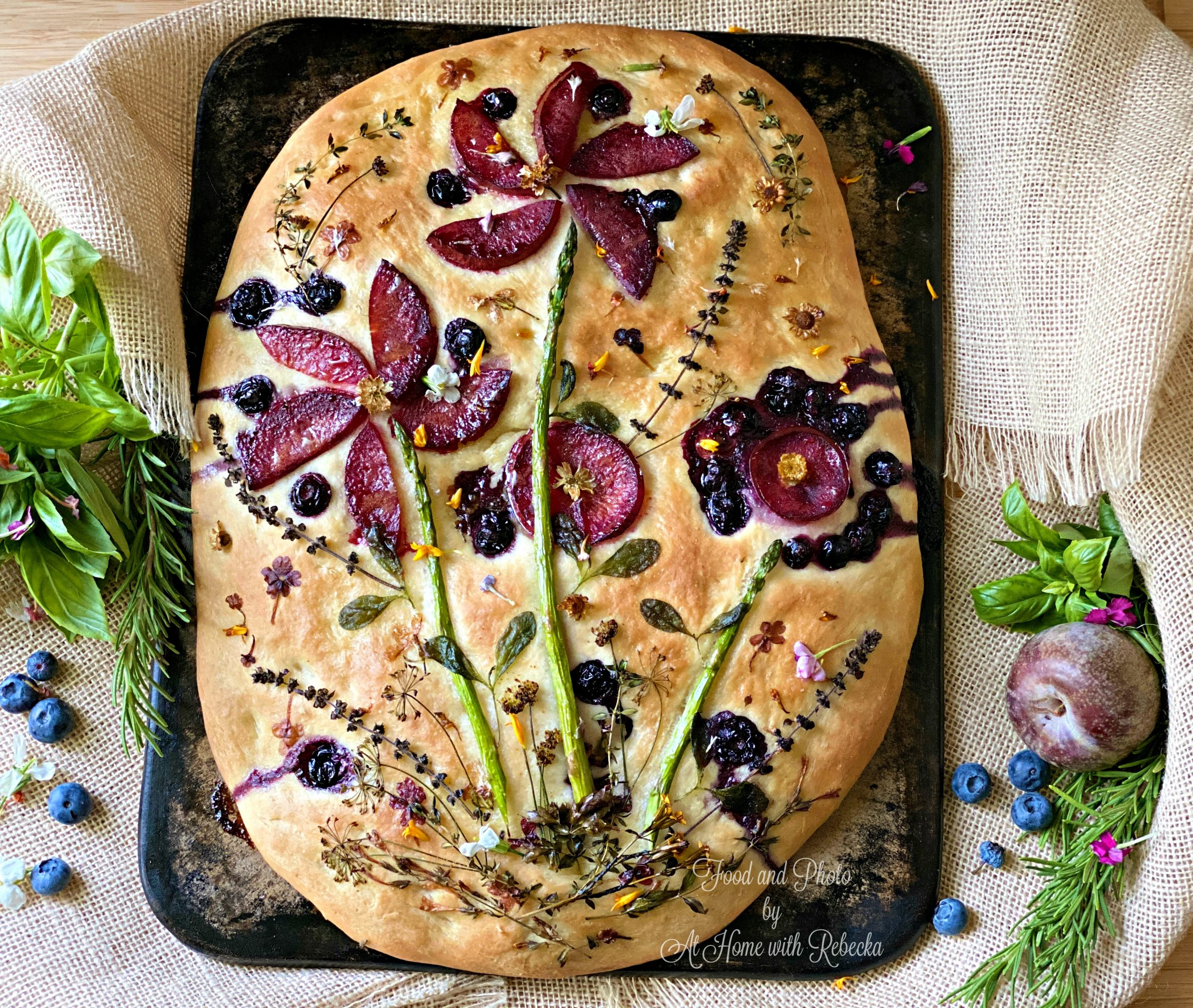 Focaccia art bread ©At home with Rebecka