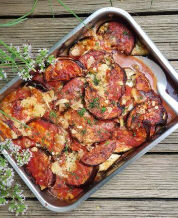 Gratin d'aubergines, mozzarella et Parmesan