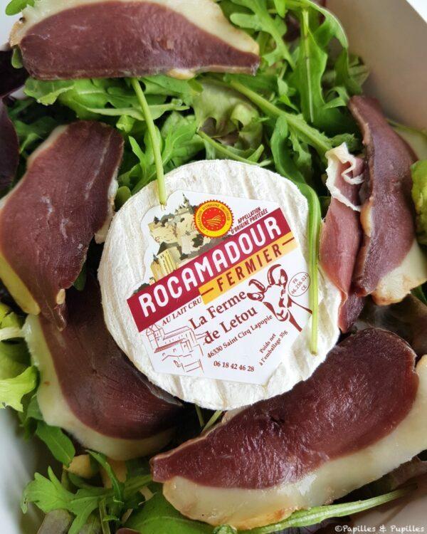 Salade au magret et Rocamadour