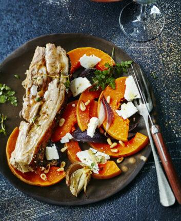 Tendrons de veau bio rôti, butternut, féta et pignons
