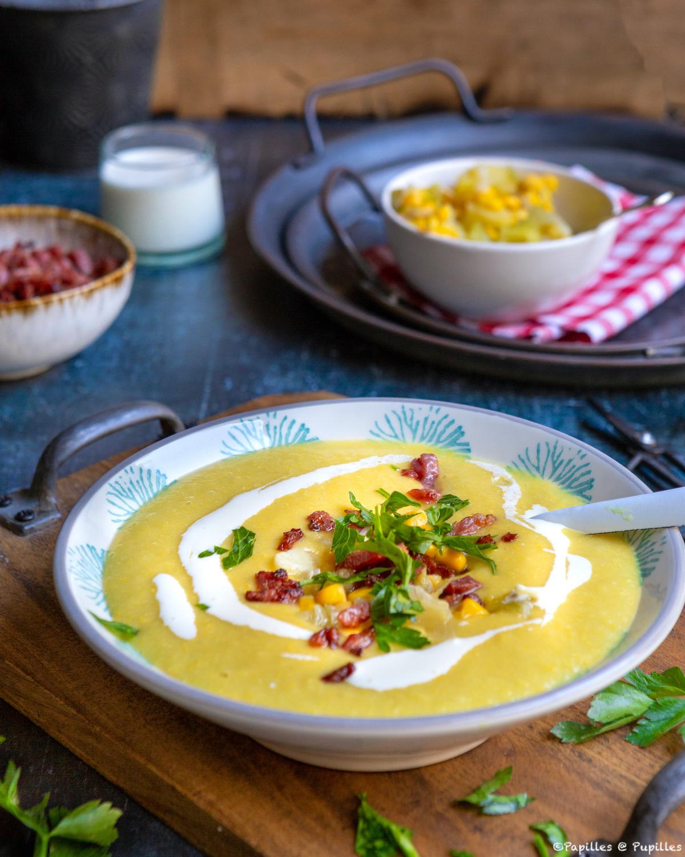 Velouté de maïs, pommes de terre et poireaux