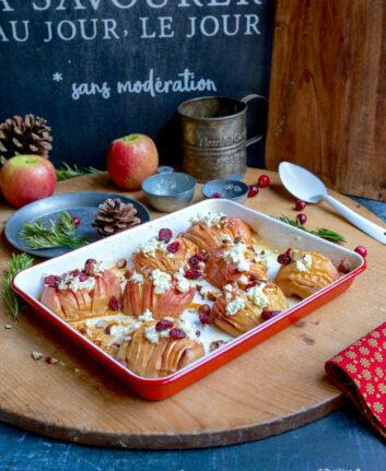 Pommes Hasselback fromage frais airelles et noisettes