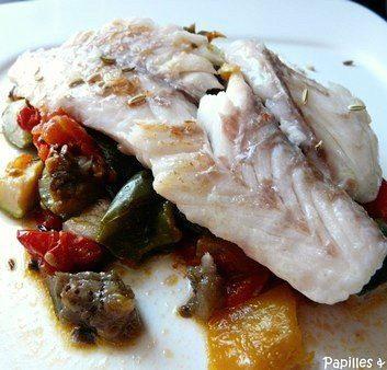 Filets de maigre aux légumes confits, fenouil et huile de cumbava