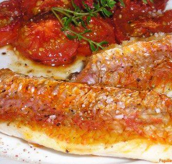Filets de rougets aux tomates confites