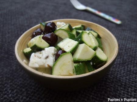 Meli Melo de courgettes, feta et olives noires