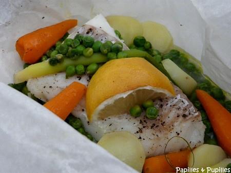 Papillote de poisson aux mini légumes