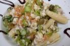 Wok de pâtes aux asperges vertes et au cabillaud