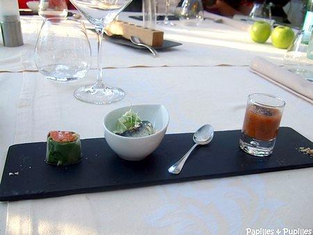 Rouleau de printemps, saumon, soja et cacao - Cappuccino de basilic et amandes fraiches et sardine fraiche marinée - gaspacho de tomates et olives noires séchées
